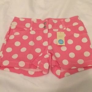 Mini Boden Pink & White Polka Dot Shorts